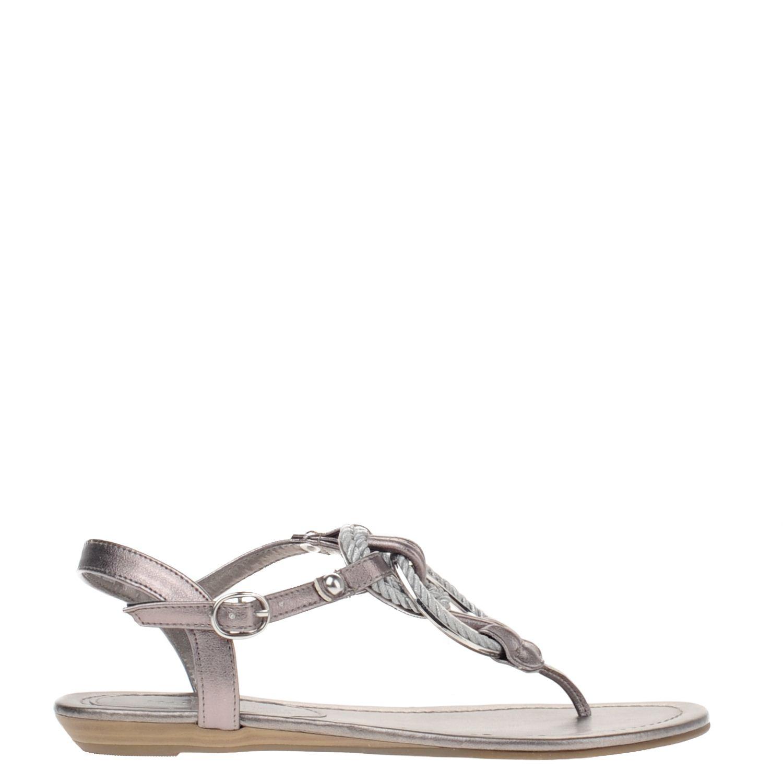 Dames sandaal van het merk marco tozzi uitgevoerd in imitatie leer. de sandaal is volledig gevoerd met ...
