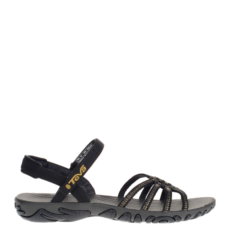Dames sandaal kayenta van het merk teva uitgevoerd met een rubberen voetbed en textielen bandjes. het bandje ...