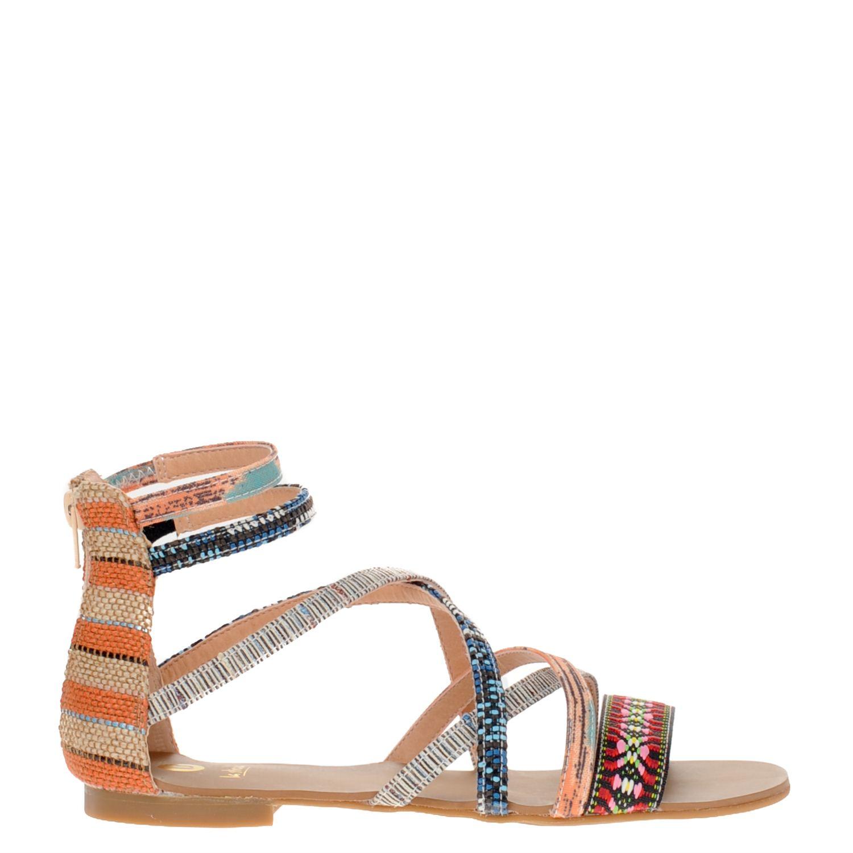 Dames sandaal van het merk la strada uitgevoerd in textiel. de sandaal heeft een gesloten hiel met ...