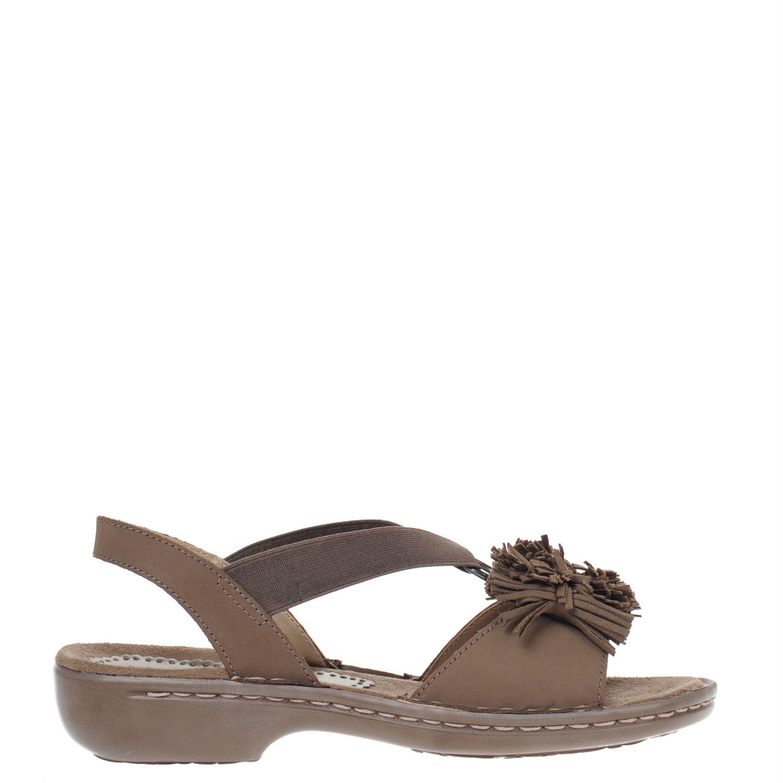 Dames sandaal van het merk jenny in g wijdte uitgevoerd in taupe nubuck. de sandaal heeft een zacht voetbed ...