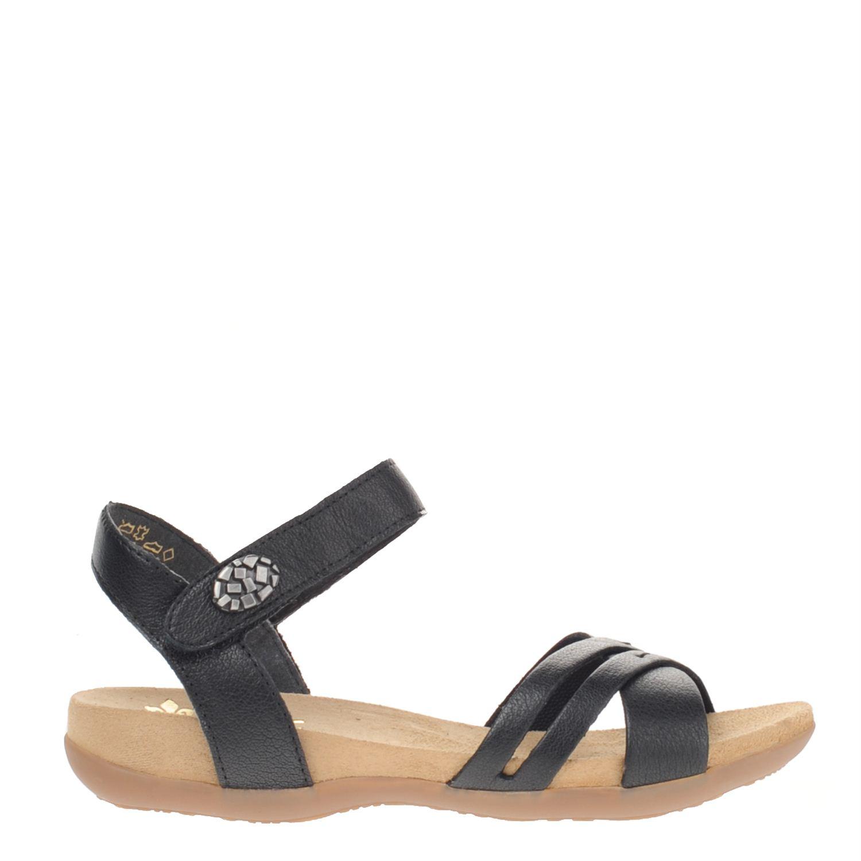 Dames sandaal van het merk rieker uitgevoerd in leer. de sandaal heeft een verstelbare enkelband. en is ...