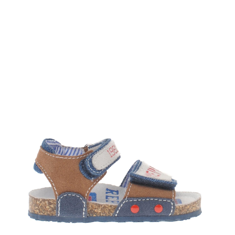 Jongens sandaal van het merk replay uitgevoerd in een combinatie van de kleuren blauw, bruin ...