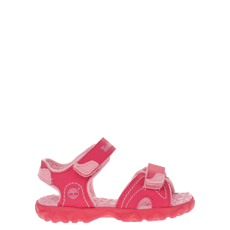 Meisjes sandaal van het merk timberland uitgevoerd in fuchsia imitatie leer met roze voering en accenten. de ...
