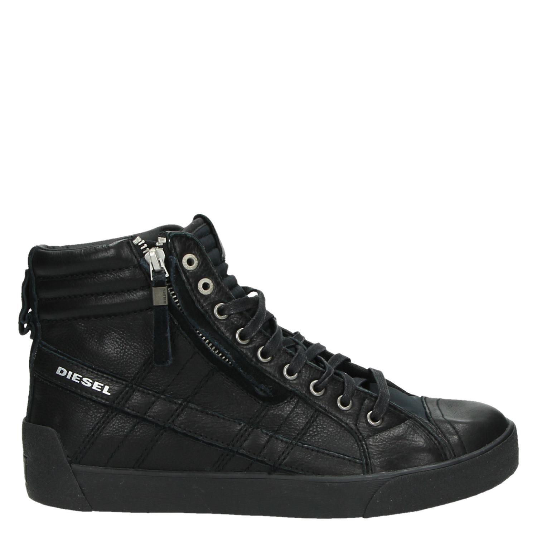 5adf358e045 Diesel D-String heren hoge sneakers zwart