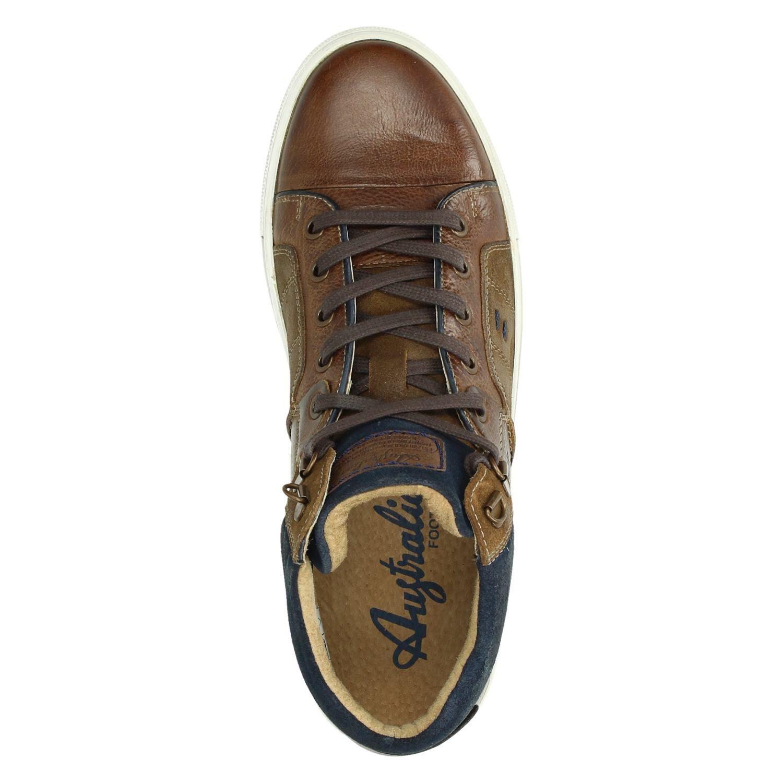 Australian Chaussures De Sport Haut En Cuir Bleu Nébraska 4bt3O