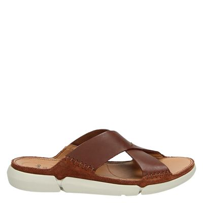 Clarks heren slippers cognac