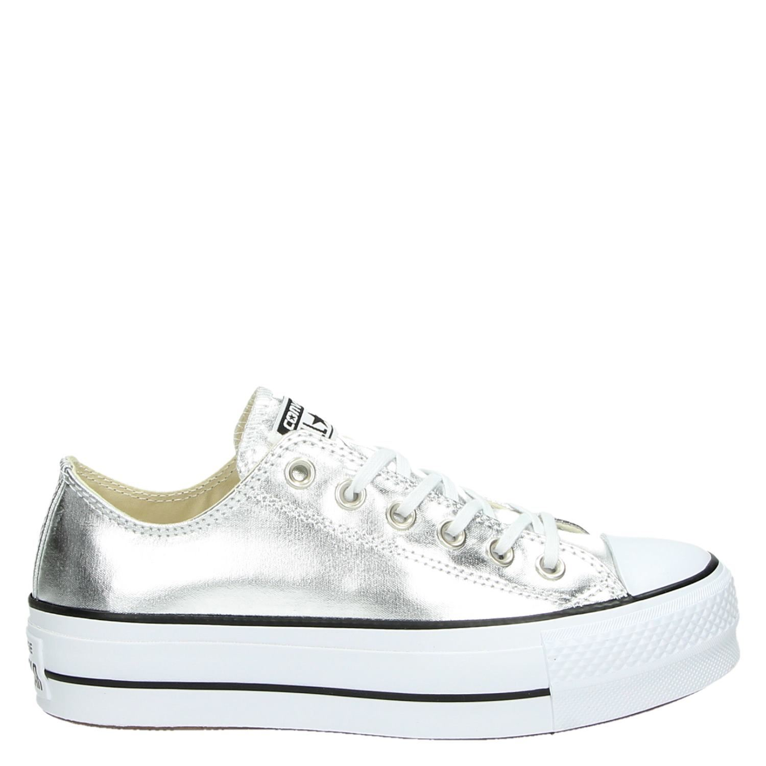5f53fae94ca Converse Chuck Taylor All Star Lift dames platform sneakers zilver