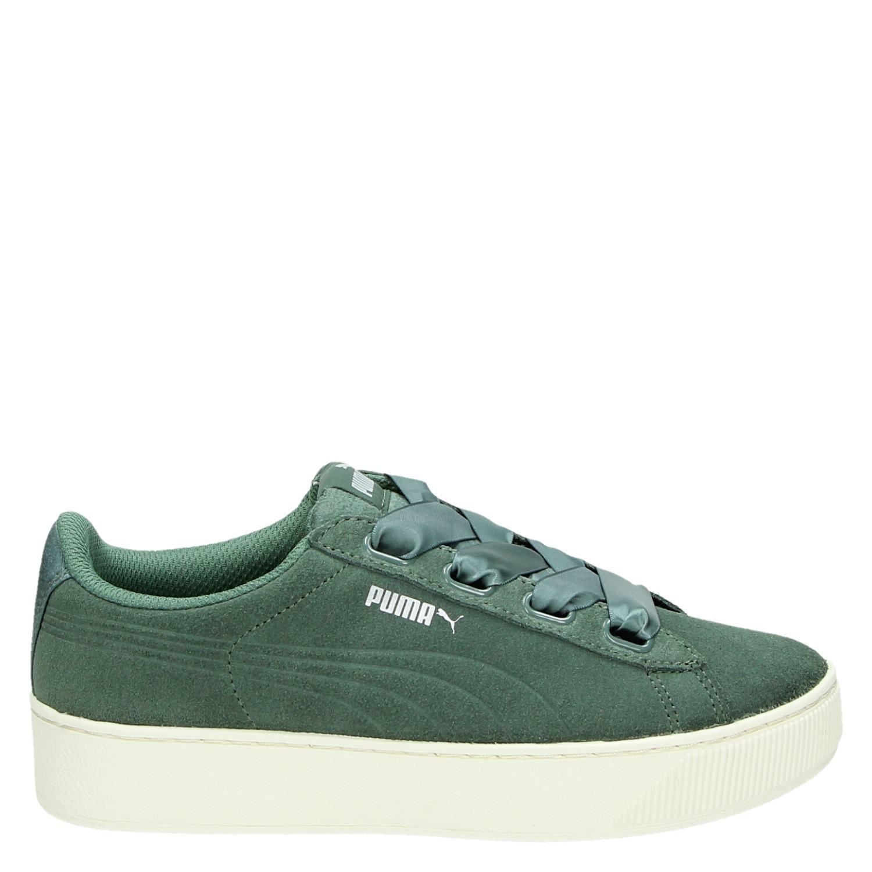 dac8d47b73a Puma Vikky Platform Ribbon dames lage sneakers groen