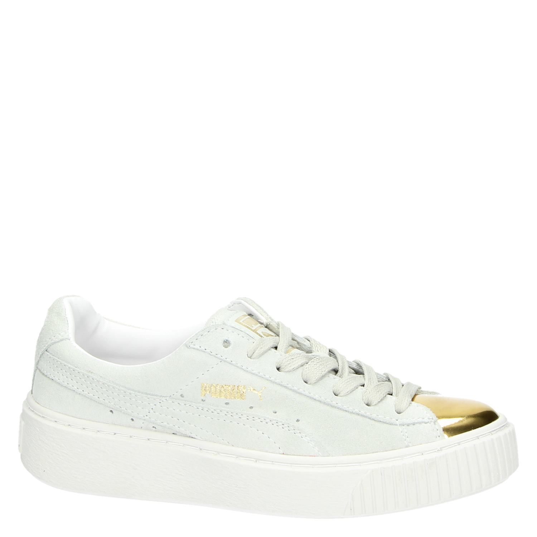 7755c811938 Puma Suede platform Gold dames lage sneakers wit