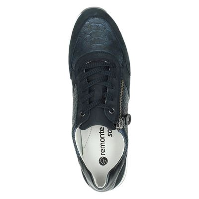 Remonte dames lage sneakers Blauw