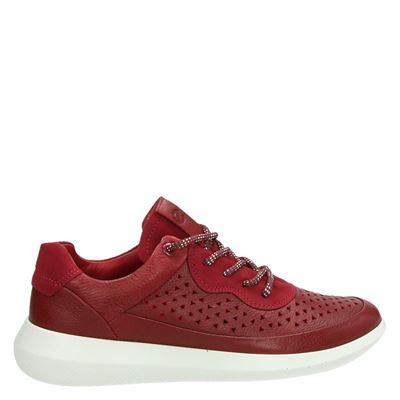 Ecco dames lage sneakers rood