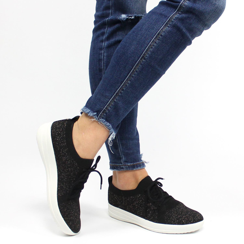 Sporty Sneakers Dames Zwart Lage F Uberknit Fitflop 5HzgqB