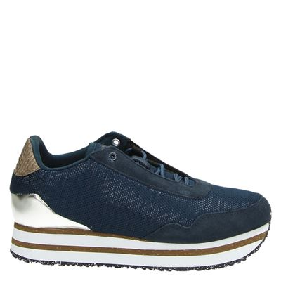Woden dames platform sneakers blauw
