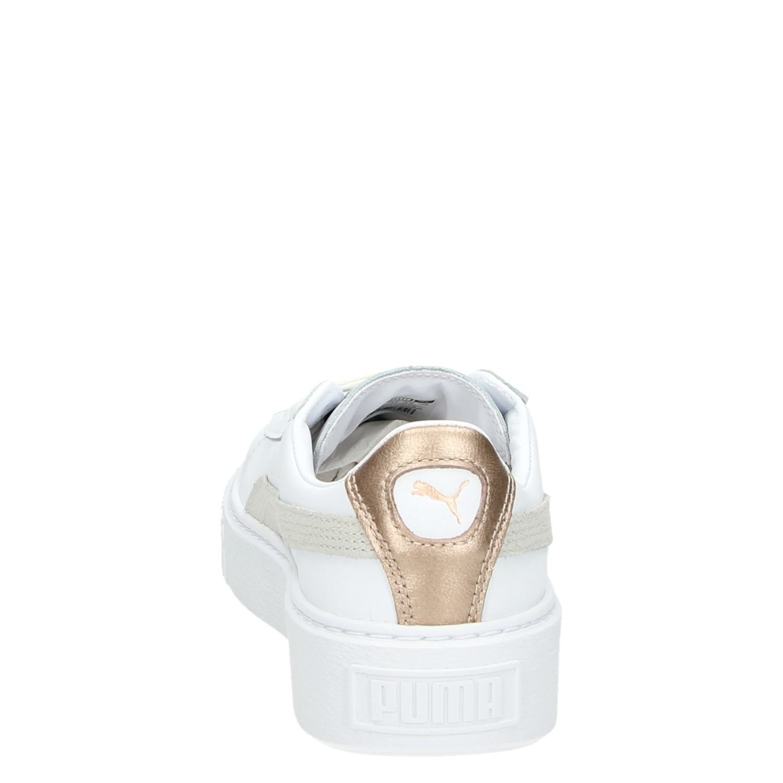 670f082e216 Puma Basket Platform Core dames lage sneakers wit