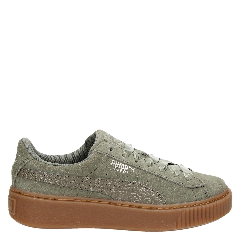 e16962a0163 Puma Suede Platform Bubbl dames lage sneakers groen