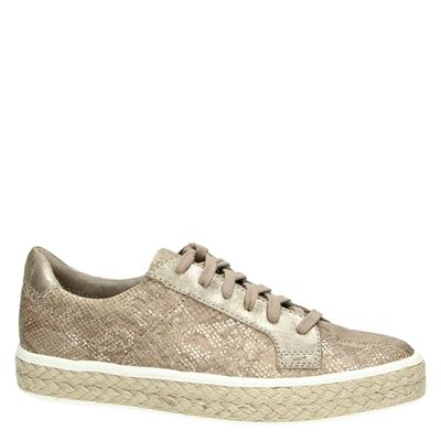Tamaris dames veterschoenen Taupe