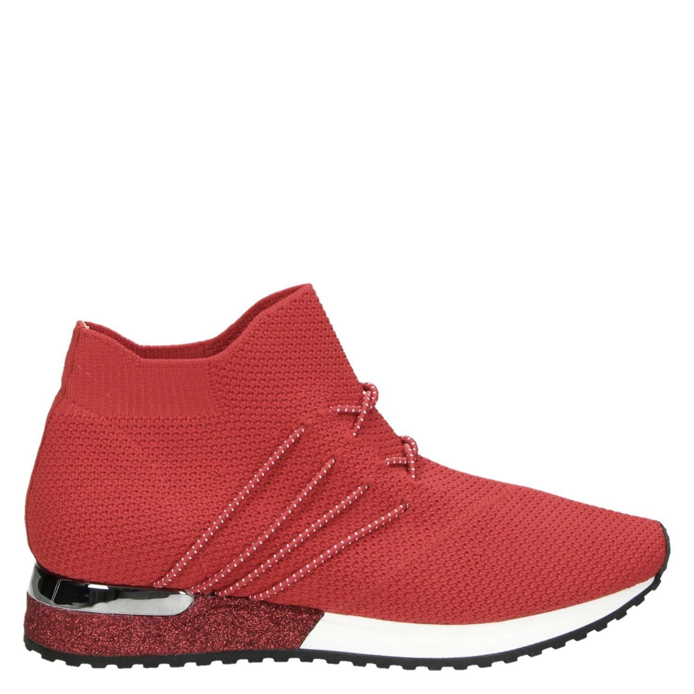 02bf5dec1ea La Strada dames hoge sneakers rood