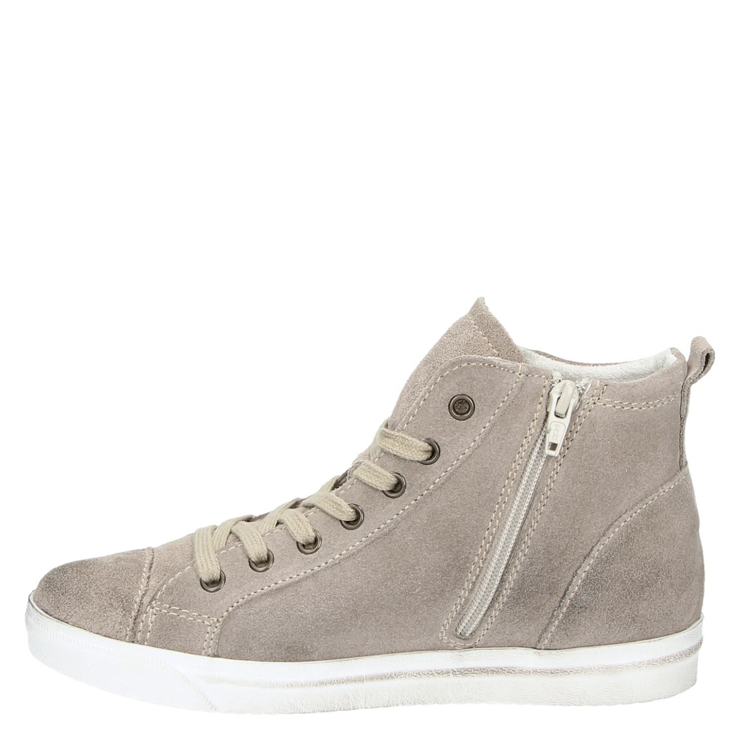 marco tozzi dames hoge sneakers taupe. Black Bedroom Furniture Sets. Home Design Ideas