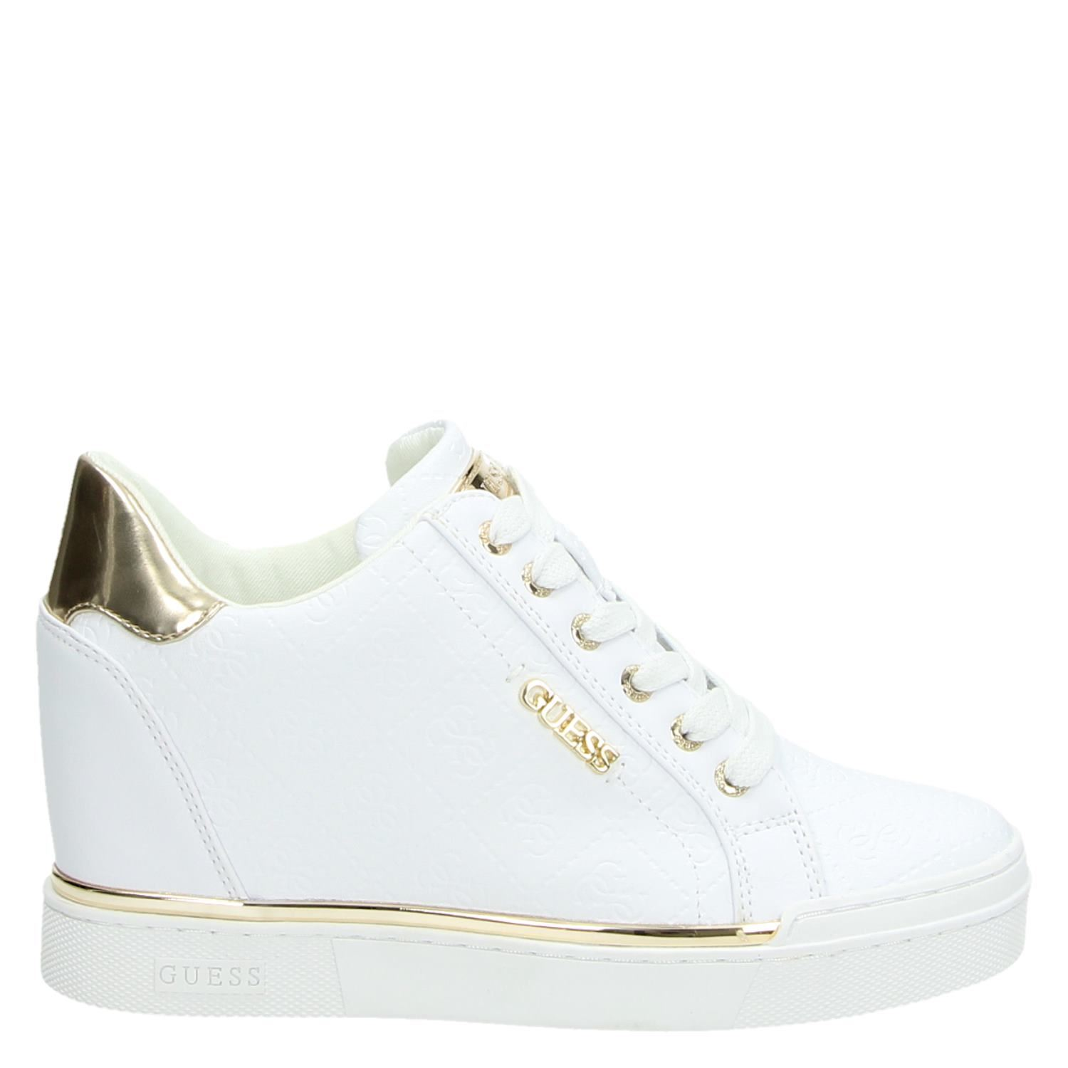 Dames Hoge Guess Sneakers Wit Flowurs 7bfY6yg