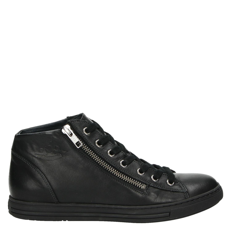 Aqa Velvet Rugine dames hoge sneakers zwart