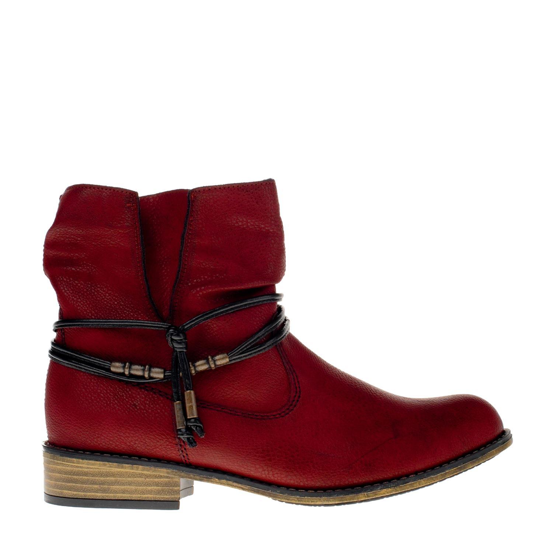 Chaussures Rouges Rieker Avec Fermeture Éclair Pour Les Femmes OBOIZ