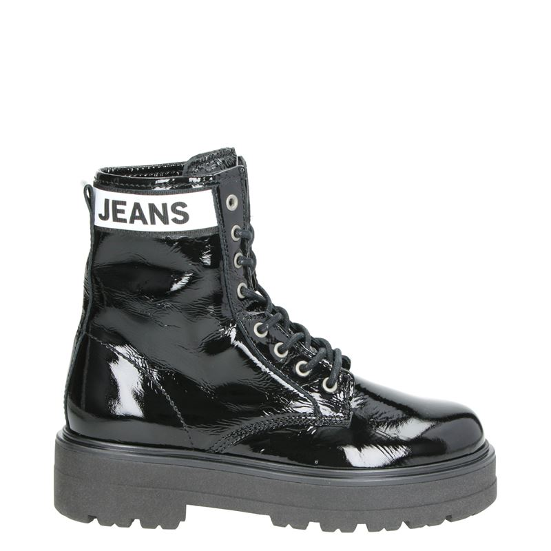 Tommy Jeans Patent Leather - Veterboots - Zwart
