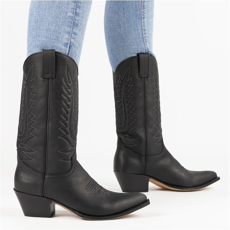 Sendra 16725 Lia Cowboylaarzen voor dames Zwart Nelson.nl
