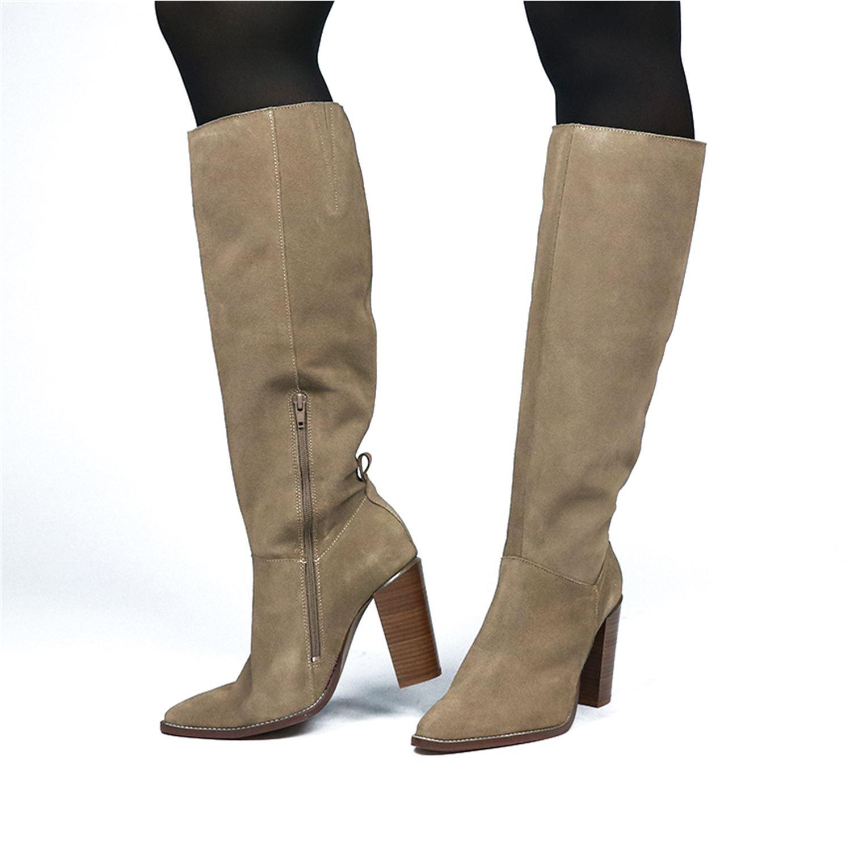 dames laarzen taupe suede