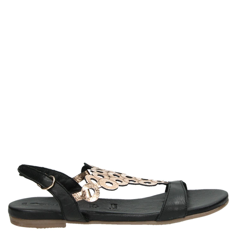 Sandales Or Noir Femmes x42Mw6