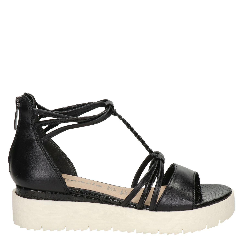 zwarte sandalen tamaris touch it