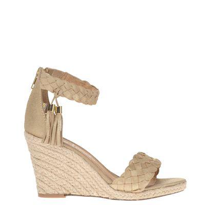 Poelman dames sandaal op sleehak uitgevoerd in suede. de voering en het voetbed zijn van leer. de sandaal ...