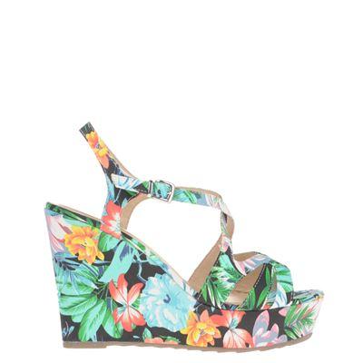 Hobb's dames sandaal uitgevoerd in textiel. de sandaal heeft een hakhoogte van 11 cm en is voorzien van een ...