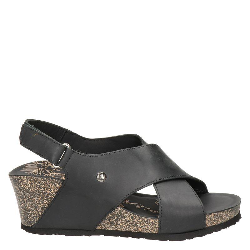 Panama Jack Valeska Basics nubuck sandalettes zwart online kopen
