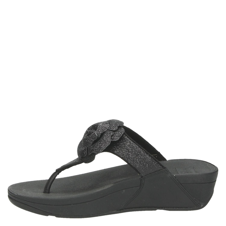 cd67a9845e9684 Fitflop Glitter Rosa dames slippers zwart
