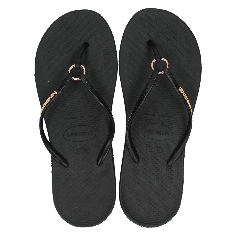 grote korting mode stijlen sneakers voor goedkoop Havaianas Ring dames slippers zwart