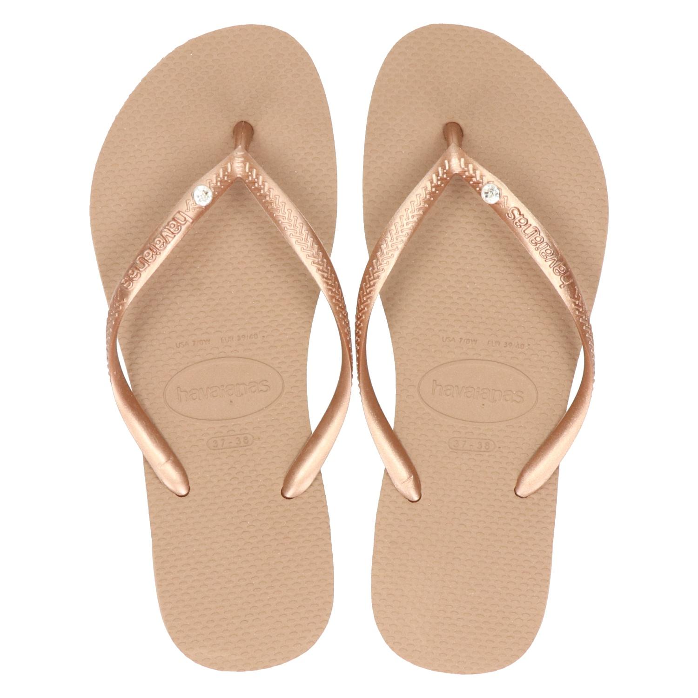 knap sneakers voor goedkoop snelle levering Havaianas Slim Crystal Glamour dames slippers rose goud