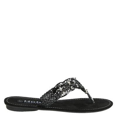 Hobb's dames slippers zwart