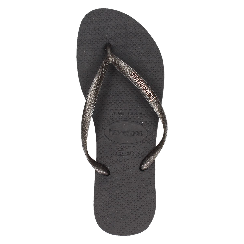 dc6e56b974c785 Havaianas Slim Logo Metallic dames slippers zwart