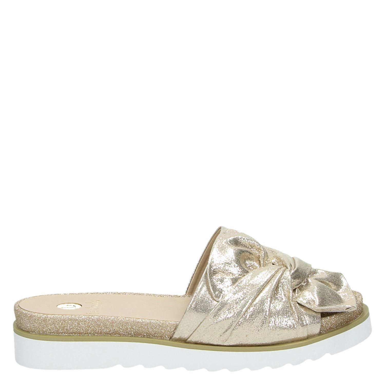 Afbeelding van Gouden La Strada Metallic slippers met glitters