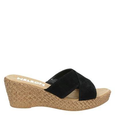Nelson dames slippers zwart