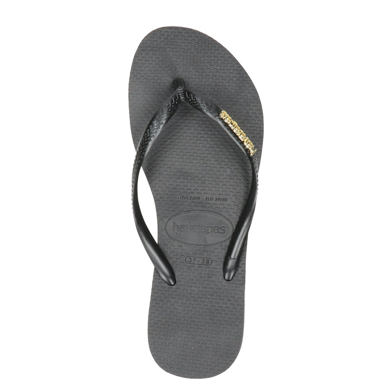 Havaianas Slim Logo Metallic - Slippers - Zwart