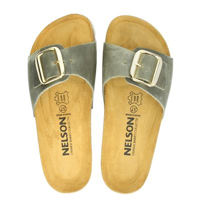 Nelson dames slippers kaki