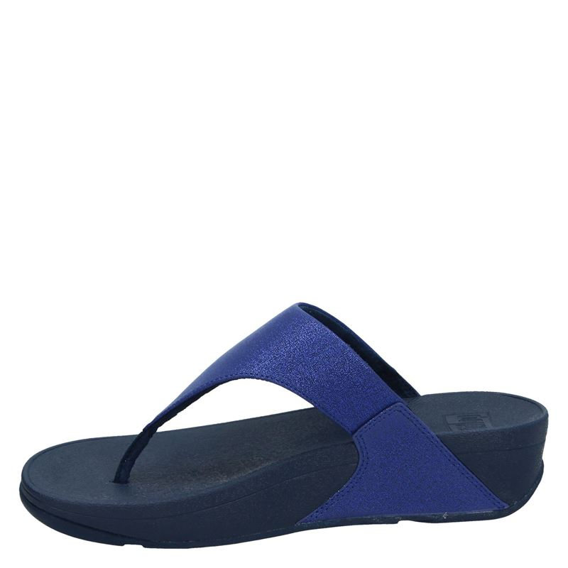 Fitflop Lulu Shimmer Toe Pose - Slippers - Blauw
