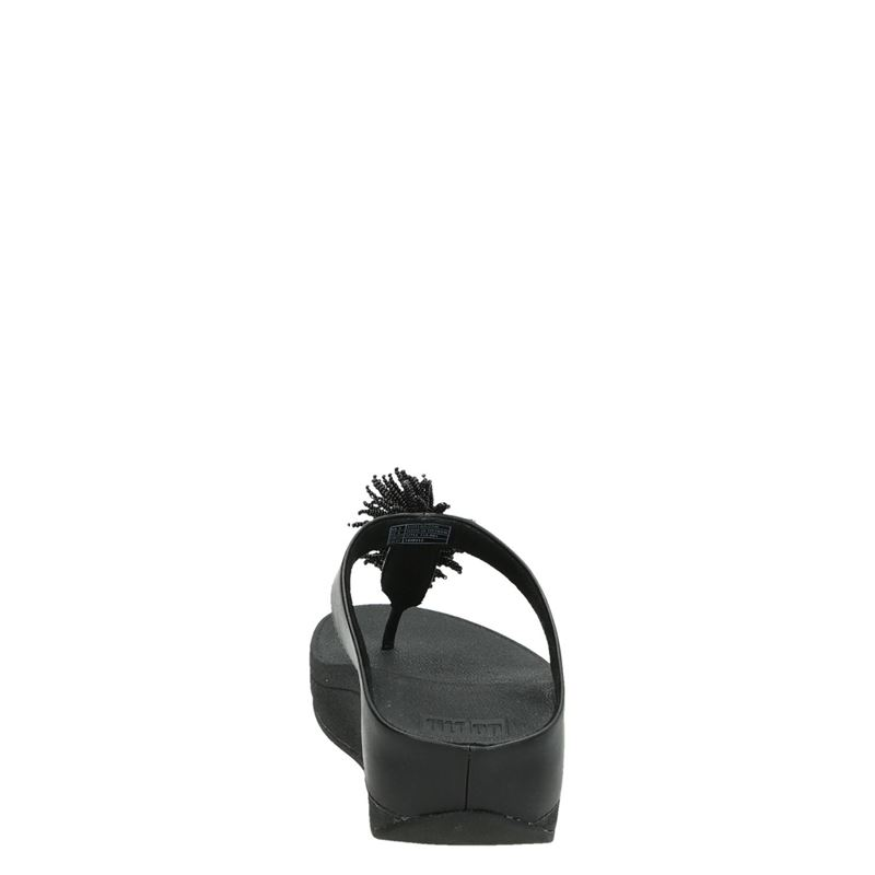Fitflop Fino Bead Pompom Toe - Slippers - Zwart