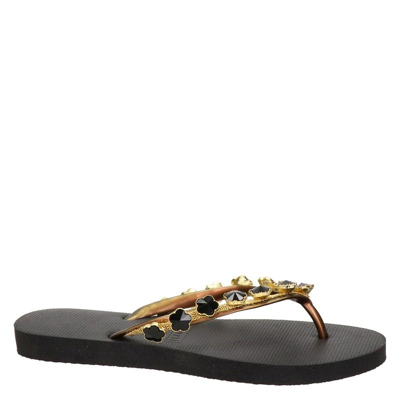 Uzurii Black Flower - Slippers - Zwart