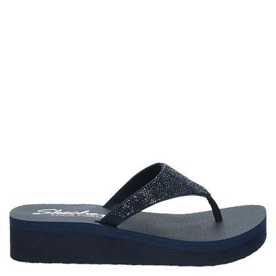Skechers dames slippers blauw