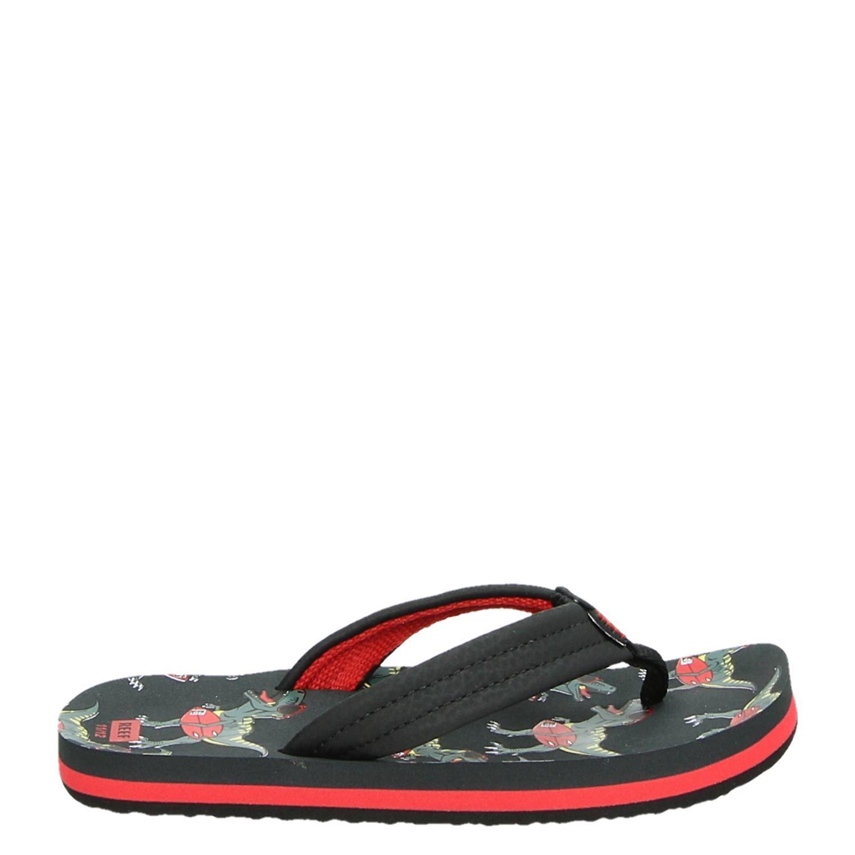 4c4c3b698b34 Reef Ahi T rex jongens slippers zwart