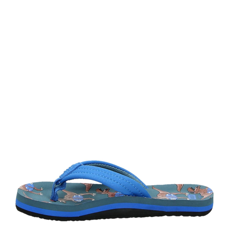 d9d3d46db159 Reef Ahi T rex jongens slippers blauw