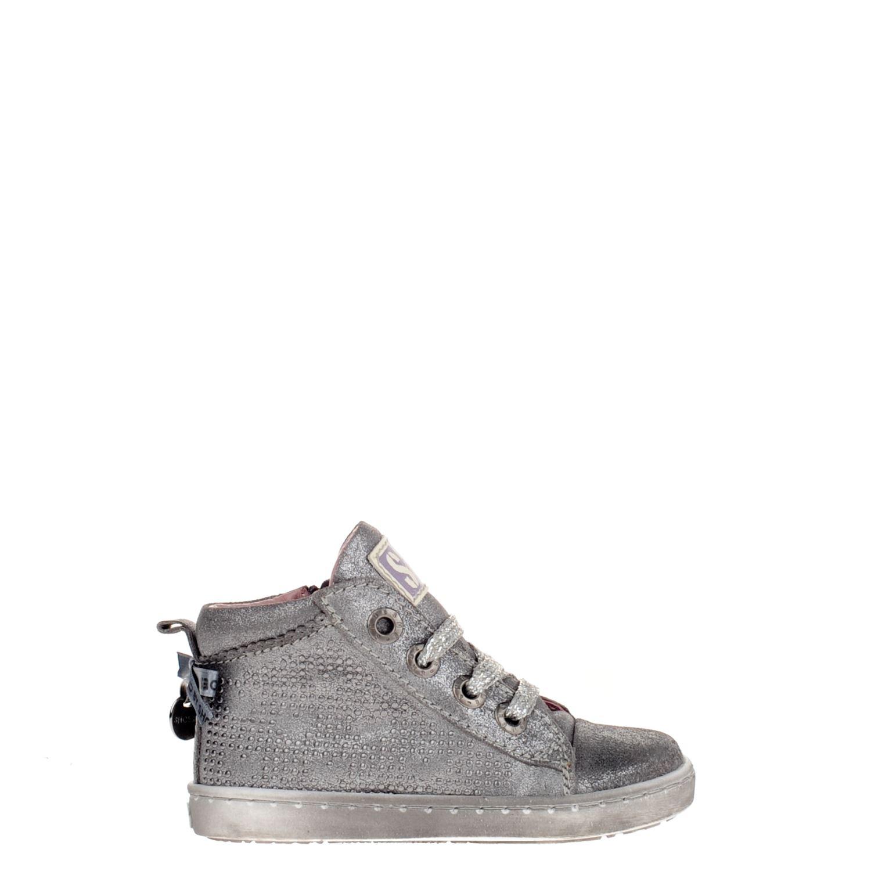 07e3dc2e04b Shoesme meisjes hoge sneakers zilver