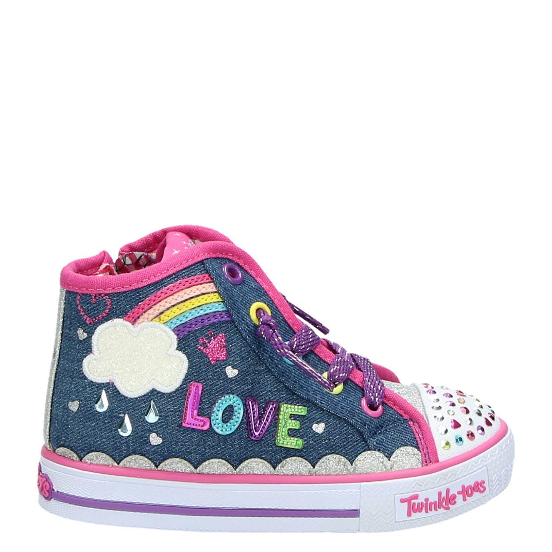 7b715b58a0c Skechers Twinkle Toes meisjes hoge sneakers blauw